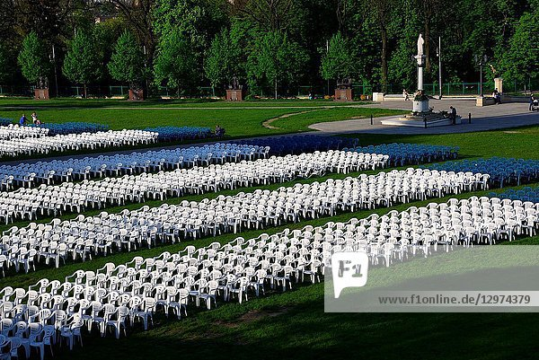 Outdoor chairs prepared for the mass  Jasna Gora - most famous Polish pilgrimage site  Sanctuary of Our Lady of Czestochowa - Queen of Poland and the Pauline monastery  National Shrine  the spiritual capital of Poland  Czestochowa  Silesian Voivodeship  southern Poland  Poland  Europe