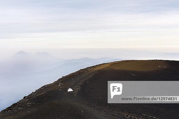 Tent on the summit of a mountain in Acatenango  Guatemala