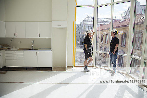 Construction workers in kitchen in Gothenburg  Sweden