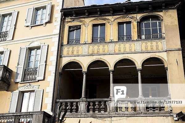 Historic building in the Market Square. Domodossola  Piedmont. Italy.