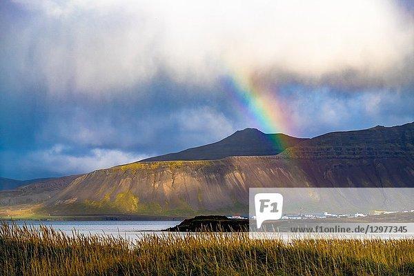 Rainbow over Snaefellsnes peninsula  Iceland.
