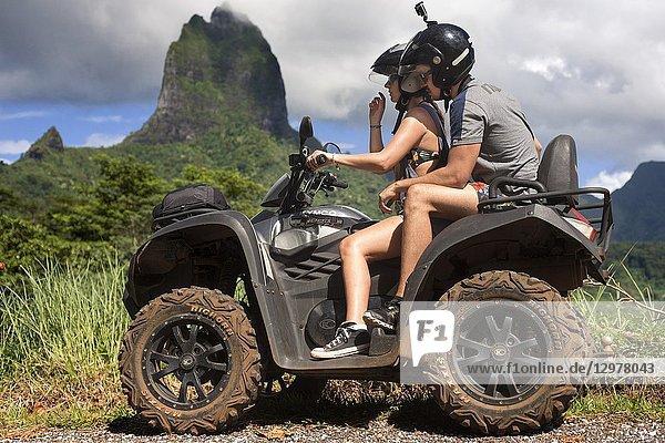 Quad safari tour in Moorea  Windward Islands  Society Islands  French Polynesia  Pacific Ocean.