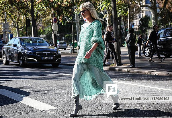PARIS  France- September 26 2018: Jeanette Friis Madsen on the street during the Paris Fashion Week.