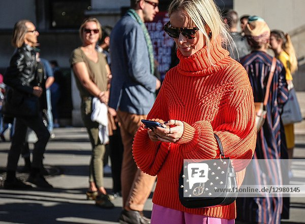 PARIS  France- September 26 2018: Thora Valdimars on the street during the Paris Fashion Week.