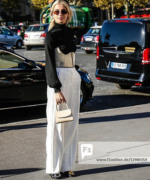 PARIS  France- September 26 2018: Caroline Daur on the street during the Paris Fashion Week.
