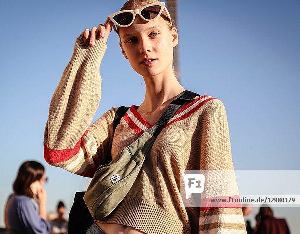 PARIS  France- September 26 2018: Model Alina Egorova on the street during the Paris Fashion Week.