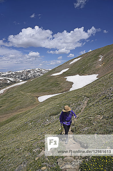 Woman hiking in mountains of Loveland Pass  Colorado
