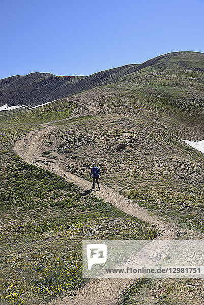 Woman hiking on trail in Denver  Colorado