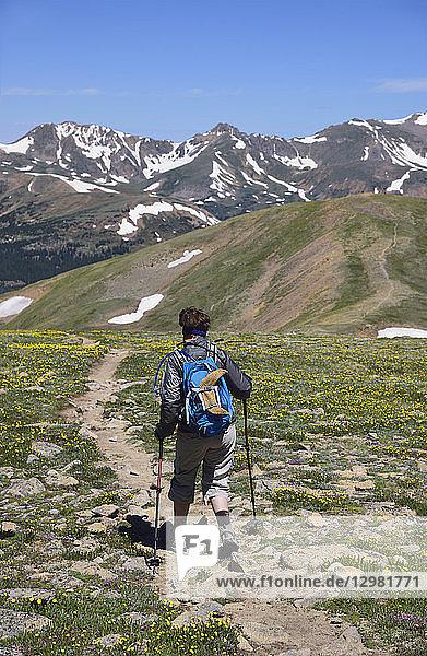 Woman hiking on Loveland Pass  Colorado