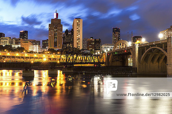 Cityscape of St. Paul  Minnesota at night