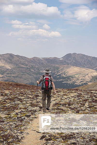 Woman hiking in Loveland Pass  Colorado