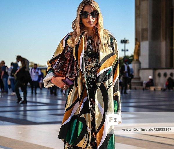 PARIS  France- September 26 2018: Women on the street during the Paris Fashion Week.