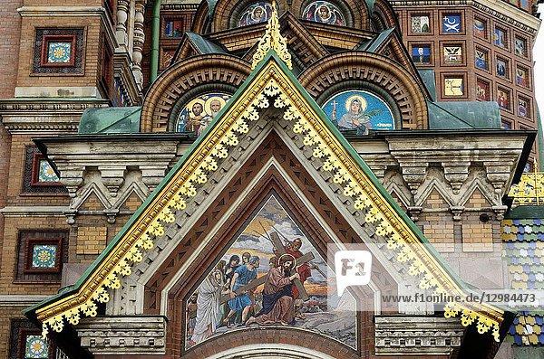 Detail Church of the Savior on Spilled Blood. Saint Petersburg  Northwestern  Russia.