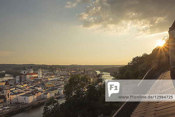 Germany  Bavaria  Passau  city view in the evening