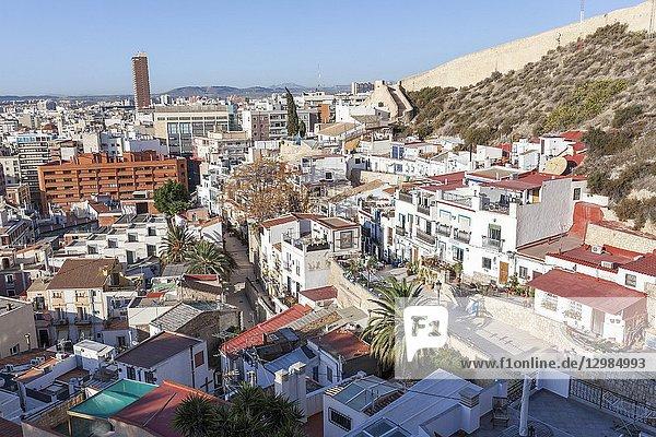 General city view from santa barbara castle. Alicante  Spain.