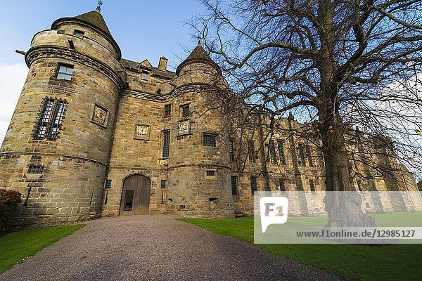 Exterior view of Falkland Palace in village of Falkland  Fife  Scotland  UK.