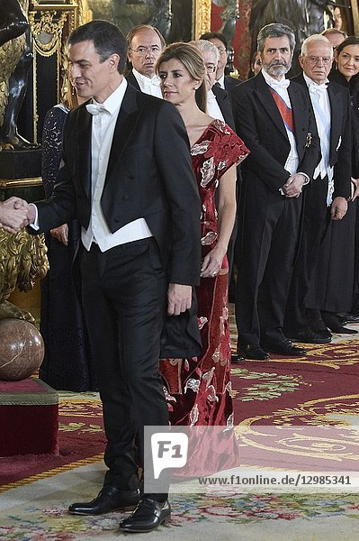 Pedro Sanchez  Begona Gomez attends a gala Dinner honouring Chinese President at the Royal Palaceon November 28  2018 in Madrid  Spain