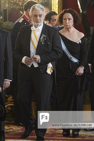 Placido Domingo attends a gala Dinner honouring Chinese President at the Royal Palaceon November 28  2018 in Madrid  Spain