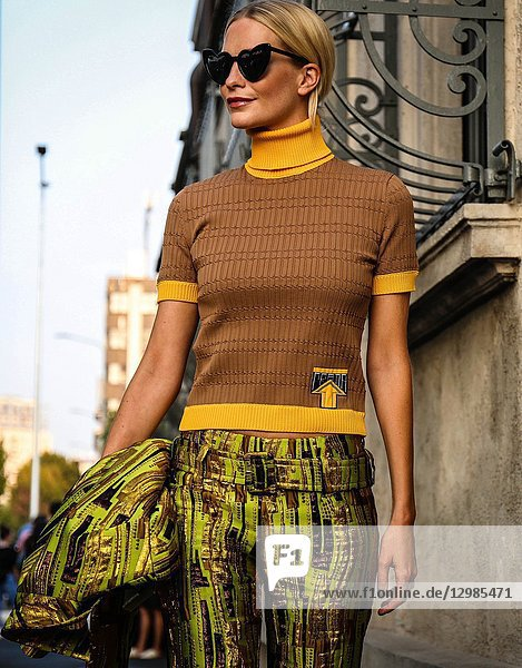 MILAN,  Italy- September 20 2018: Poppy Delevingne on the street during the Milan Fashion Week.