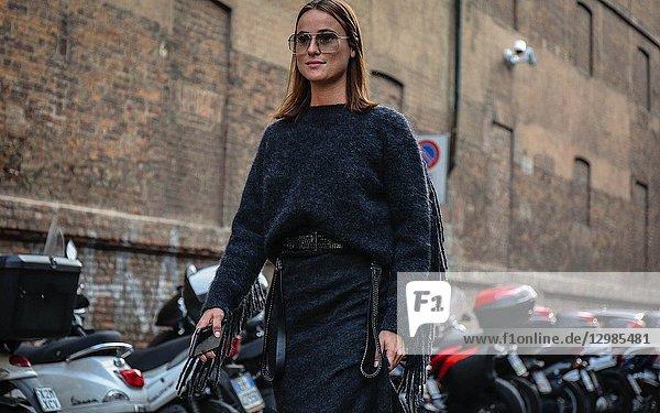 MILAN  Italy- September 20 2018: Lena Lademann on the street during the Milan Fashion Week.