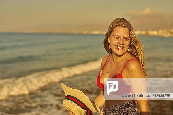 Woman at beach  Stalida  Crete  Greece.