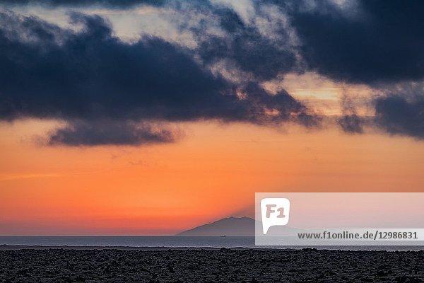Sunset over Snaefellsjokull Glacier  Iceland.