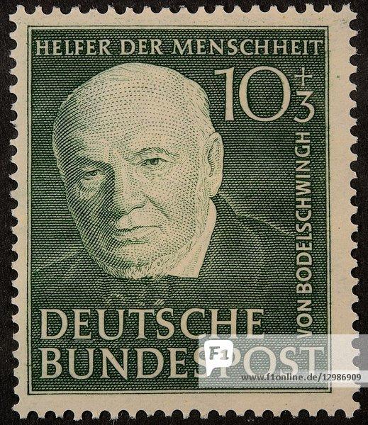 Friedrich von Bodelschwingh Sr  a German theologian and politician  portait on a German stamp.