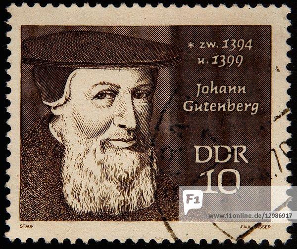 Johann Gutenberg  a German book printer  portrait on a East German stamp.
