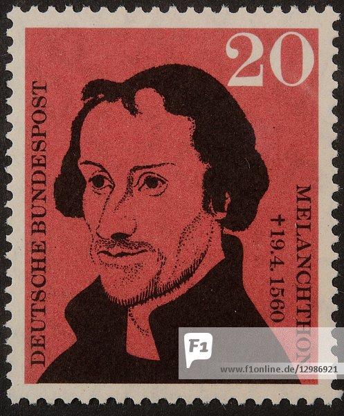 Philip Melanchthon  a German Lutheran reformer  portrait on a German stamp.
