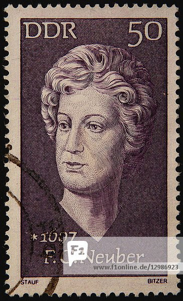Friederike Caroline Neuber  a German actress and theater manager  poertrait on an East German stamp.