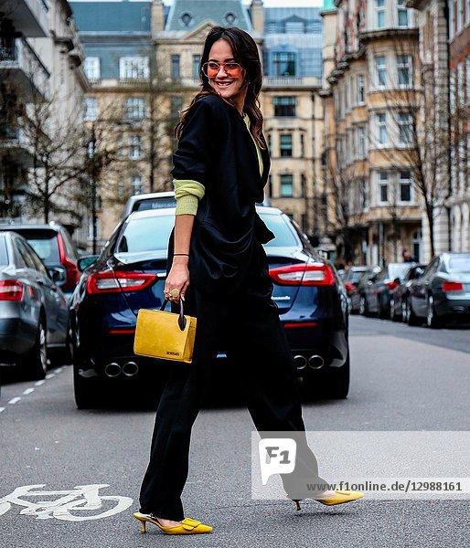 LONDON  UK- February 18 2018: Anna Rosa Vitiello on the street during the London Fashion Week.