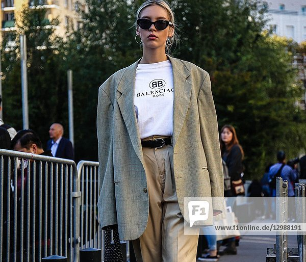 PARIS  France- September 27 2018: Women on the street during the Paris Fashion Week.