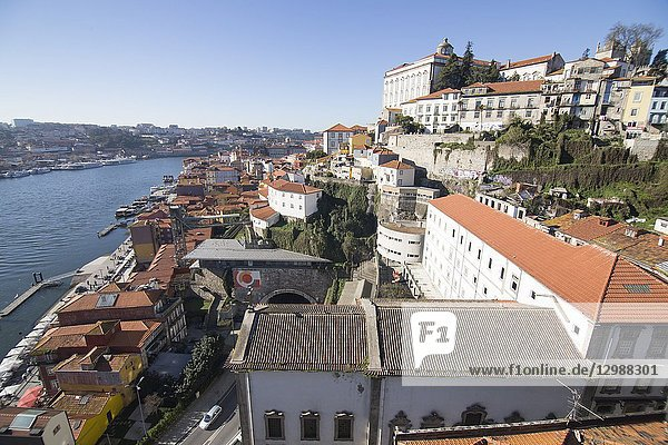 Aerial view of the old town in Oporto from Dom Luis the first bridge  Portugal.