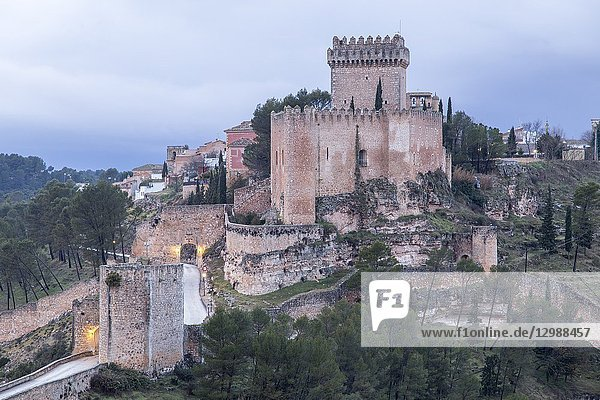 Panoramic view of the town of Alarcon with the Castle of Altas Torres and the Reservoir Cuenca Castile La Mancha Spain.