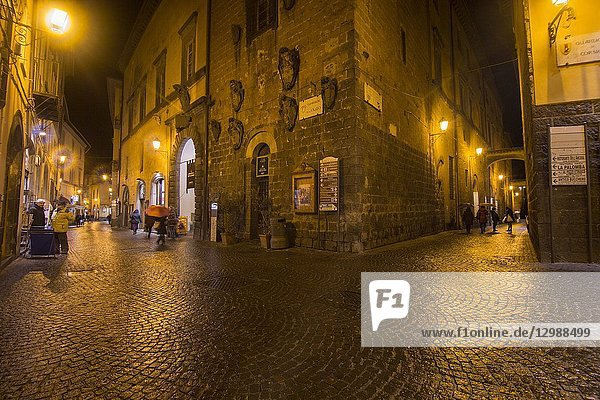 Cityscape in the medieval city of Orvieto by night Umbria Italy.