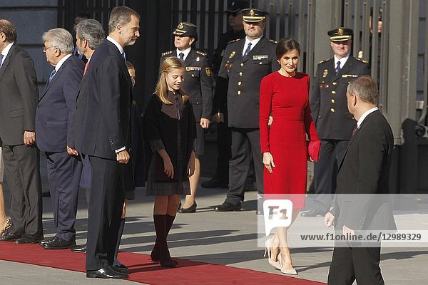 King Juan Carlos  King Felipe  Queen Letizia  Queen Sof'a  Princess Leonor and Princess Sofia attend the celebration of the 40 anniversary of the constitution at the national congress on December 3  2018 in Madrid  Spain.06/12/2018.