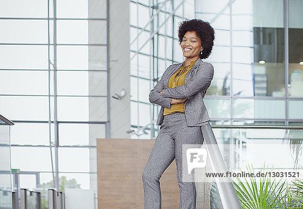 Portrait confident  happy businesswoman