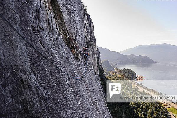 Junger männlicher Bergsteiger beim Klettern an einer Felswand  erhöhte Ansicht  The Chief  Squamish  Britisch-Kolumbien  Kanada
