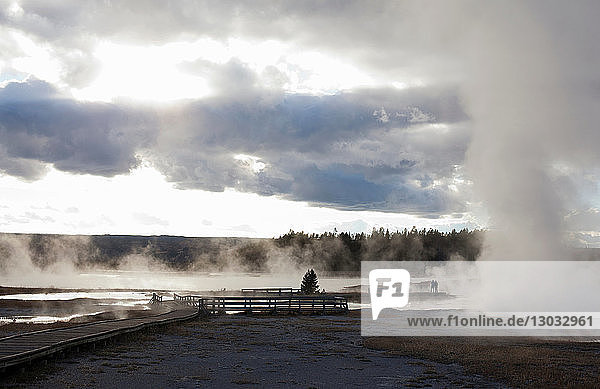 Elevated walkways at Midway Geyser Basin in Yellowstone National Park  Wyoming  USA
