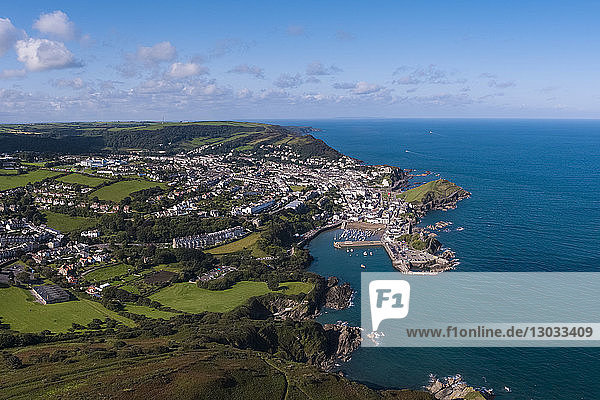Aerial view over the town and North Devon coast  Ilfracombe  Devon  England  United Kingdom