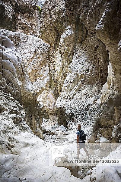 Tourist hiking in Saklikent Gorge  Saklikent National Park  Fethiye Province  Lycia  Anatolia  Turkey Minor