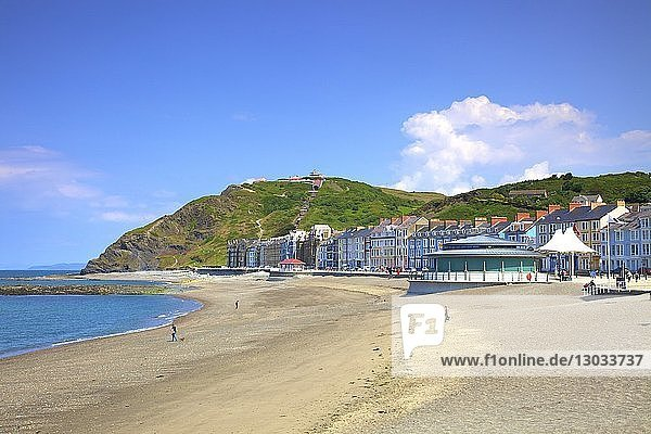 The Beach and Promenade at Aberystwyth  Cardigan Bay  Wales  United Kingdom