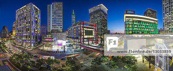 Xinyi downtown district  the prime shopping and financial district of Taipei  Taiwan