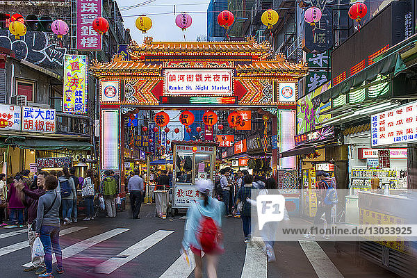 Raohe Street night market  Songshan District  Taipei  Taiwan
