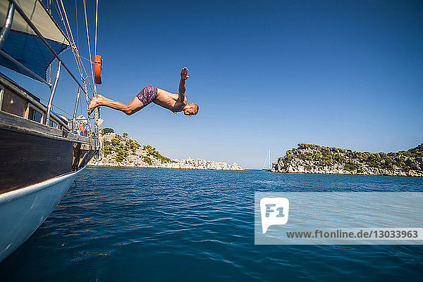 Diving off a Gulet sailing boat cruise in Gokkaya Bay  Antalya Province  Lycia  Anatolia  Mediterranean  Turkey Minor