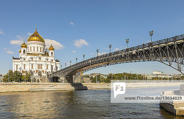 Cathedral of Christ the Saviour beside Moscow River  Moscow  Russia
