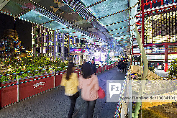 Xinyi downtown district  pedestrian bridge in the prime shopping and financial district  Taipei  Taiwan