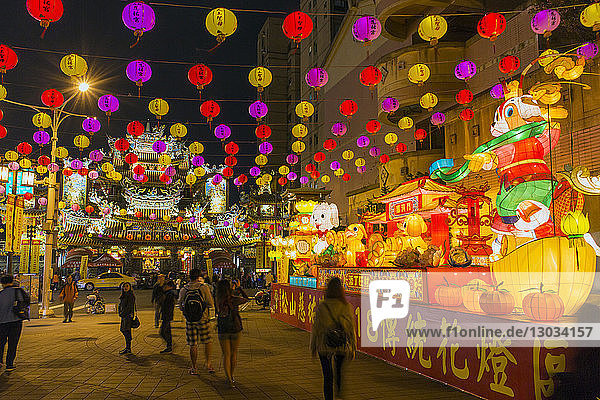 Street decorations outside Ciyou Temple  Songshan District  Taipei  Taiwan