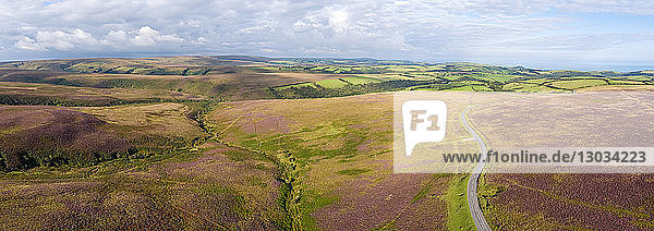Aerial view over the moors  Exmoor National Park  Devon  England  United Kingdom