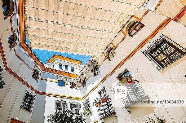 Inward-facing Arabic-style courtyard in Cordoba  Andalucia  Spain